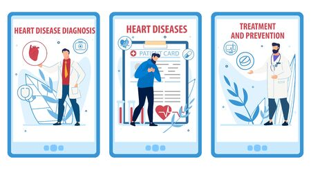 Heart Disease Prevention, Diagnosis, Treatment Mobile Webpage Set. Social Media Online Service Landing Page Kit. Cartoon Cardiologist and Patient Suffering from Pain in Chest. Vector Flat Illustration Ilustrace