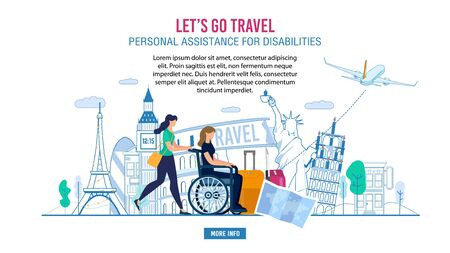 Webpage Banner Advertising Professional Assistance for Disabled People during Europe Voyage, Travelling on Vacation. Woman Volunteer Pushing Lady in Wheelchair, Help with Luggage Vector Illustration 일러스트