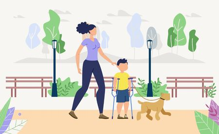 Injured Children Physical, Psychological Rehabilitation, Recreation Trendy Flat Vector Concept. Disabled Boy Resting in Park with Mother and Dog, Learning to Walk on Crutches After Trauma Illustration Vecteurs