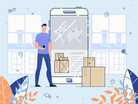 International Delivery Service on Mobile Phone. Man Customer Using Application on Smartphone for Ordering Cargo Shipment. Online Tracking and Checking Express, Free, Fast Worldwide Freight Shipping Vektoros illusztráció