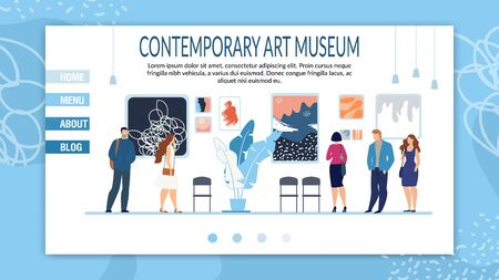 Creative Contemporary Art Museum Responsive Landing Page Layout. Booking Tickets and Cultural Tour to Gallery. Blog and Studio Departments Description for Potential Visitors. Vector Illustration