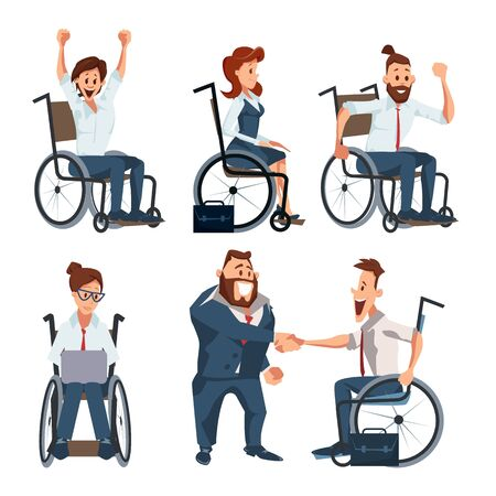 Personnes handicapées atteignant le succès dans la carrière d'affaires Trendy Flat Vector Character Set isolé sur fond blanc. Heureux hommes d'affaires travaillant sur ordinateur portable, félicitant l'illustration du patron