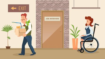 Disabled People Employment Equal Rights and Opportunities Trendy Flat Vector Concept. Woman with Disabilities Waiting for Job Interview, Sad Male Employee Leaving Office After Dismissal Illustration Zdjęcie Seryjne - 138624699