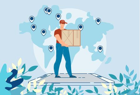 Worldwide Logistic Delivery Online Mobile Service. Man Courier Character Carrying Package Box Standing on huge Smartphone. GPS Tracking System. Order Cargo Shipment Support. Transportation Area on Map