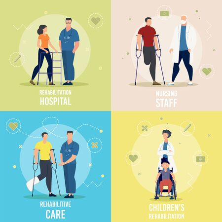 Medical Care, Nursing Service, Childrens Rehabilitation in Hospital Trendy Flat Vector Square Concepts Set. Female, Male Doctor, Nurse Assisting Injured Patient, Helping Disables Person Illustration