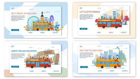 Europe and Usa Travel Offer, Hop-on-Hop-Off Bus Tours and Excursions Trendy Flat Vector Web Banners, Landing Pages Set. Female Tour Guide Conducting Excursion for Tourist in Open Top Bus Illustration