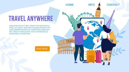 Travel Agency World Tours, Airline Flight Routes for Tourist Trendy Flat Vector Web Banner, Landing Page Template. Man and Woman with Luggage, Choosing Travel Destinations on World Map Illustration