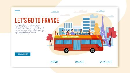 Bus Tours, Professional Excursion in France Trendy Flat Vector Web Banner, Landing Page Template. Tourists Visiting Paris, Observing Famous Attractions from Double-Decker, Open Top Bus Illustration Иллюстрация