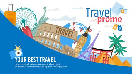 Travel Agency, Touristic Routes and Tours, Booking Service Trendy Flat Vector Advertising Banner, Promo Poster Template. European and American Cities Architectural, Historical Attractions Illustration