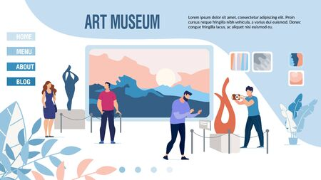 Responsive Landing Page Inviting to Museum of Modern Art. People Visitors Enjoy View on Contemporary Sculpture Composition Abstract Paintings on Wall, Photographing. Vector Illustration 向量圖像