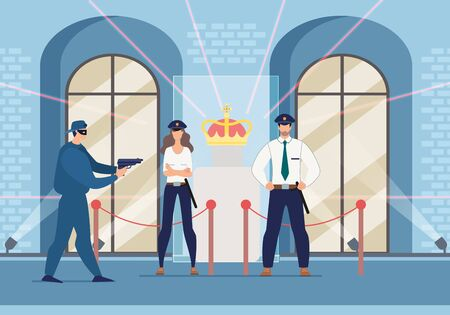 Armed Male Burglar in Mask Trying Steal Crown Threatens Security Guard. Museum Theft. Man and Woman Safety Service Protecting King and Queen Jewelry. Art Criminal and Burglary. Vector Illustration
