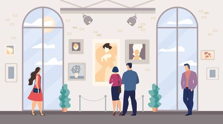 Men Women, Family Couple Visiting Art Museum. Contemporary Artworks Exhibiting in Gallery. People Tourist Viewers Enjoy Creative Portraits and Still Lifes Painting Hanging on Wall. Vector Illustration