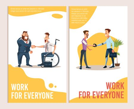 Job Offer and Career Opportunity for Disabled People Trendy Flat Vector Advertising Banner, Promo Poster Templates. Satisfied Boss, Employer Welcoming, Handshaking Disabled Male Worker Illustration