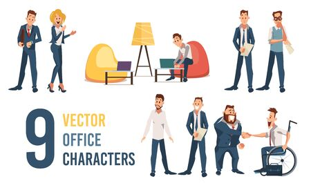 Office Workers, Clerks, Company Employees Trendy Flat Vector Characters Set Isolated on White Background. Office Workers, Entrepreneurs, Boss Handshaking Disabled Man in Wheelchair Illustrations
