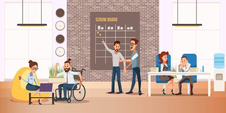Disabled People Full Life and Self-Realization Trendy Flat Vector Concept. Happy and Positive Man in Wheelchair Working in Coworking Office, Taking Part in Business Startup Development Illustration