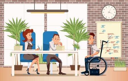 Job Interview with Disabled Vacancy Candidate Trendy Flat Vector Concept with Company Head, Hr Managers Talking with Young Man in Wheelchair, Listening Job Applicant Self-Presentation Illustration