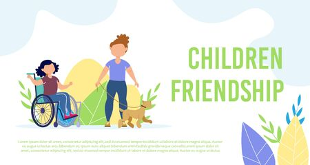 Disabled Children Friendship Relationships Trendy Flat Vector Banner, Poster Template. Little Girl with Disabilities, Child in Wheelchair Walking with Friend and Dog, Having Fun Outdoors Illustration