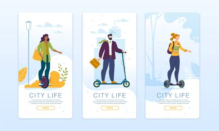 Ecological City Life. Mobile Pages Set Design for Social Network. Phone Application for Order, Rent Quick Speed Ecological Transport. Man and Woman Riding Electric Scooter, Hoverboard, Monocycle