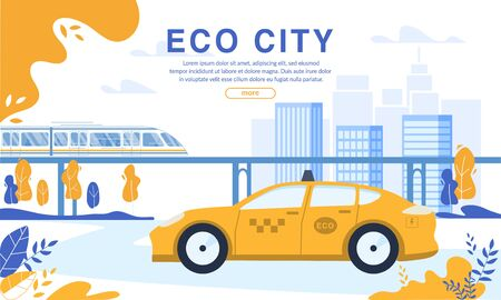 Rechargeable Electric Eco Taxi Cab and Train on Magnetic Pad Order. Webpage Banner Booking Service Uber Application. Green Energy Usage for Environment Protection. Modern Ecological City