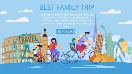 Travel Agency Tours for Parents with Kids, Family Vacation Trip Trendy Flat Vector Web Banner, Landing Page. Happy Father and Mother with Children Riding Bicycles near Famous Attractions Illustration 向量圖像