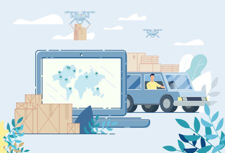 Land and Air Delivery Service Online. Internet Shipping. Transportation and Logistic Digital Shopping Advertising. Cargo Shipment by Lorry Truck Van and Drone. Worldwide Tracking System