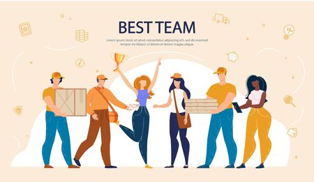 Diverse Multiracial Best Team Lettering Banner. Online Purchased Food, Goods Delivery Service. Man and Woman Working at Moving Company. Lady with Gold Reward, Happy Employees with Packages