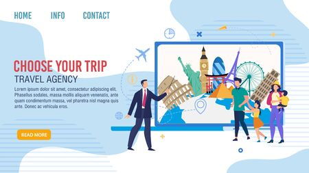 Travel Agency Tours for Traveling Families Trendy Flat Vector Web Banner, Landing Page Template. Company Manager, Showing with Pointer, Offering Destinations for Clients Vacation Journey Illustration 向量圖像