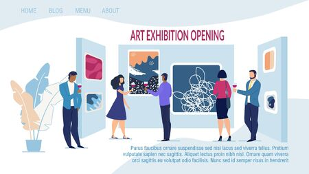 Responsive Landing Page Template Advertising Art Exhibition Opening with Contemporary Artwork. Museum and Gallery with Abstract Creative Artistic Work and People Drinking Alcohol. Vector Illustration