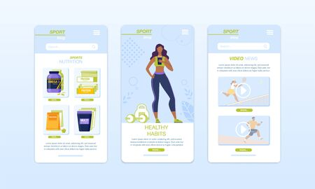 Healthy Food, Fitness, Sport, Diet Mobile App Set. Smart Training, Dietary Menu Compilation Application. Service Sports Nutrition Order, Sportive News and Outdoor Exercises Review. Onboard Screens Kit