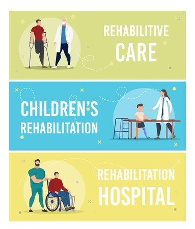 Medical Care and Physical Rehabilitation of Disabled Adults and Children Trendy Flat Vector Horizontal Banners, Posters Templates Collection. Hospital Doctor, Nurse Caring About Patient Illustration 向量圖像
