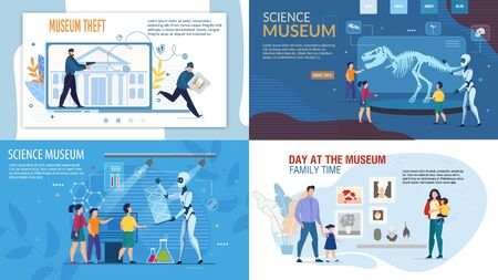 Futuristic Science Museum with Robotic Guide Artificial Intelligence, Security Guard Historical Values Protection from Criminal Theft, Family Cultural Recreation Poster Set. Vector Illustration