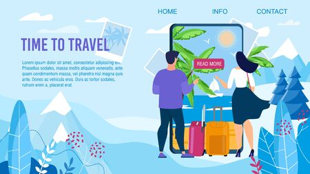 Time to Travel Design. Landing Page Advertising Trendy Mobile Application for Tour Selection to Exotic Country. Man Woman Couple Standing front of Mobile Screen Choosing Resort. Vector Illustration