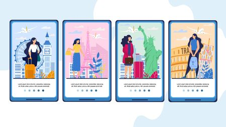 Mobile Travel App with Female Tourist on Vacation, Business Trip, Voyage through Europe. Booking Aircraft Tickets Online. Tour Agency Service. Onboard Phone Screens Design Set with Happy Travelers