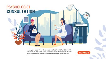 Psychologist Consultation Service Flat Advertising Web Banner. Private Counseling. Family Psychology. Cartoon Patient at Doctor Appointment in Office. Communication and Treatment. Vector Illustration