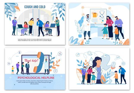 Medical Posters Advertising Treatment for Sick People Characters with Health Problem. Flu, Cold, Fever Cure. Psychological Hotline Service. Family Doctor and Psychologist. Vector Cartoon Illustration