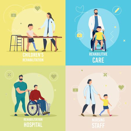 Disabled Children and Adults Rehabilitation in Hospital, Rehabilitative Care, Nursing Staff Trendy Flat Vector Square Concepts Set. Medical Professionals Helping People with Disabilities Illustration 向量圖像