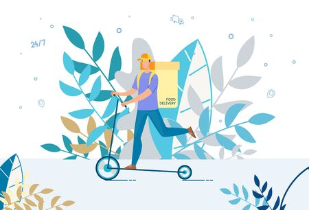 Courier Delivering Food Basket on Electric Scooter. Deliveryman Using Eco-Friendly Fast Transport. Fresh Healthy Hot Meal Order Transportation. Round-the-Clock Online Service Advertisement