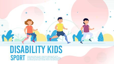 Disabled Children Physical Rehabilitation with Sport Activities Trendy Flat Vector Banner, Poster Template. Little Boy and Girl with Robotized Leg Prosthesis Running Together in Park Illustration