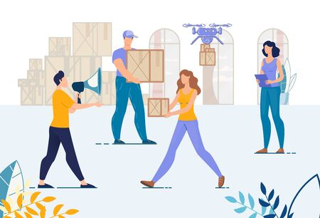 Warehouse and Loaders, Movers Team. Man Manager with Megaphone Controlling Loading. Logistic Working Process. Storeroom Technology Work. Aircraft Drone Delivery Service. Cargo Company Staff