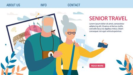 Landing Page Offering Best Tour for Senior Couple. Happy Retired Man and Woman People Travelling Together, Sharing Impressions via Internet, Taking Selfie on Phone. Travel Agency Vector Illustration