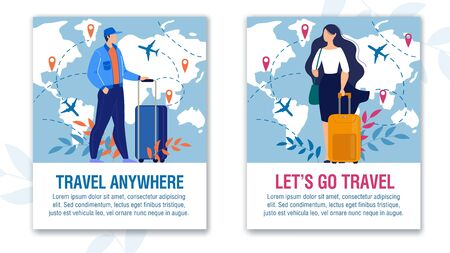 Amazing Adventure and Aircraft Travel over World Motivation Set. Vertical Text Poster with Man Woman Travelers Standing with Luggage Bag. Map with Different Destination Location and Routs Illustration 向量圖像
