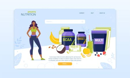 Sport Nutrition Complex for Women Landing Page. Vitamins and Minerals Supplements Assortment Online Order and Delivery Service. Green Tea, Smoothie, Powder, Pills. Vector Sports Food Illustration 向量圖像
