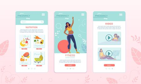 Healthy Food and Fitness App for Pregnant Women. Onboard Mobile Screens Set. Sports Nutrition and Supplements Order and Delivery. Online Training and Video Tutorials Exercises Review during Pregnancy 向量圖像