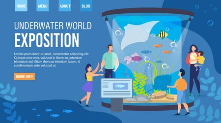 Landing Page Inviting Visit Underwater World Exposition. Invitation to Event Aquarium Family Weekends. Parents with Kids Enjoy Watching Exhibits. Recreation at Oceanarium. Vector Illustration