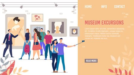 Landing Page Promoting Historical Cultural Museum Excursions. Guide Showing Contemporary Artworks and Famous People Painting Portraits Collection. Visitors at Classic Gallery or Medieval Palace