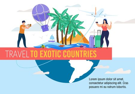 Travel to Exotic Countries Motivation Abstract Banner. Tour Agency or Booking Tickets Service Advertisement. Happy Man and Woman Tourist with Camera Shooting Video, Taking Photo Enjoy Trip