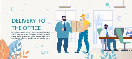 Fast Goods, Food, Appliance Targeted Delivery to Office. Advertising Text Poster with Working People in Business Center. Boss Chief Getting Business Package from Man Courier. Ordering System