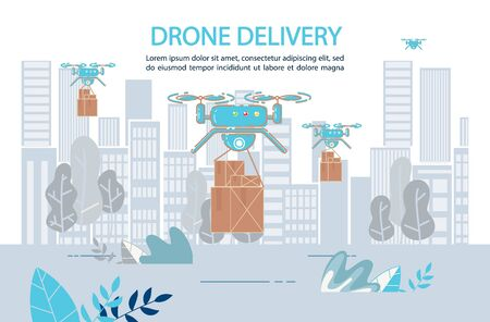 Parcels Quadcopter Aircraft Delivery Service. Fast Drone Shipping Logistic System. Modern Technologies for Drugs, Food, Goods Air Transportation. Aircraft Automated Flying Robot Carrying Cardboard Box 向量圖像