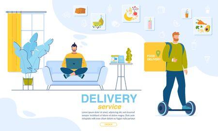 Fresh Dinner Order. Online Service for Home Delivery. Man Choosing Menu for Snack via Internet on Laptop. Deliveryman on Hoverboard Carrying Food Box. Landing Page Trendy Design. Vector Illustration