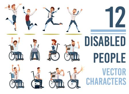 Disabled People Trendy Flat Vector Characters Set Isolated on White Background. Happy and Joyful Men and Woman with Disabilities Sitting in Wheelchair, Jumping with Leg Robotic Prosthesis Illustration